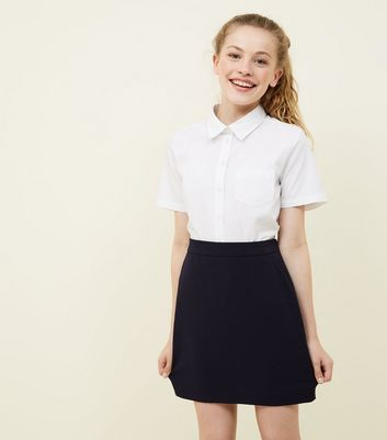 Girls Navy Elasticated Waist Skirt