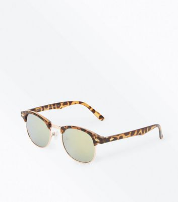 Dark Brown Tortoiseshell Mirror Sunglasses