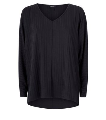 New Look - Black Ribbed Fine Knit V Neck Top - 4