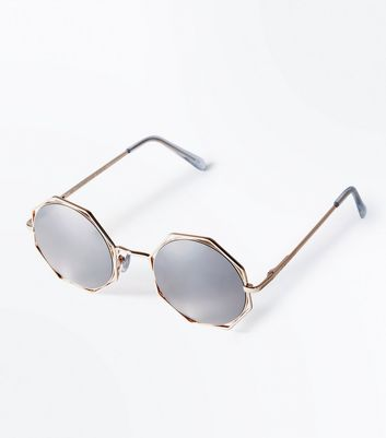 Rose Gold Octagon Mirror Lens Sunglasses