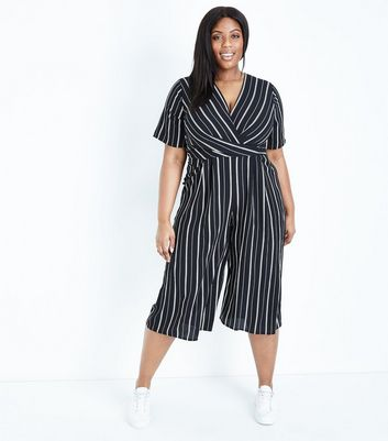 Curves Black Stripe Wrap Culotte Jumpsuit