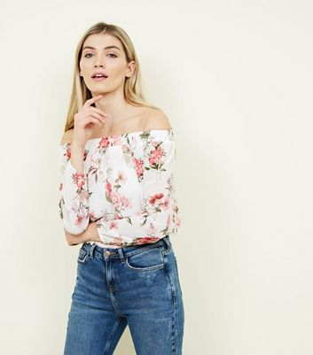 White Floral Bardot Neck Bodysuit