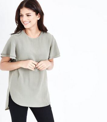 Khaki Tiered Sleeve Step Hem Top
