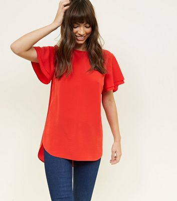 Red Tiered Sleeve Step Hem Top