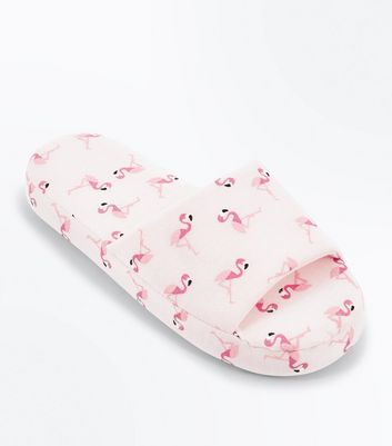 Pink Flamingo Print Slider Slippers