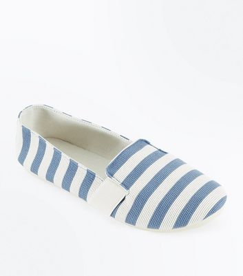 Blue Stripe Canvas Slip On Plimsolls