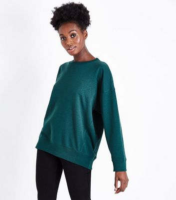 Dark Green Balloon Sleeve Sweatshirt