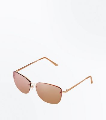 Rose Gold Rimless Small Sunglasses