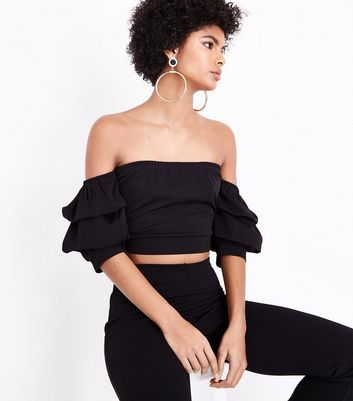 Cameo Rose Black Tiered Sleeve Bardot Neck Top
