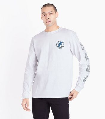 White Forever Logo Print Long Sleeve Cuff T-Shirt