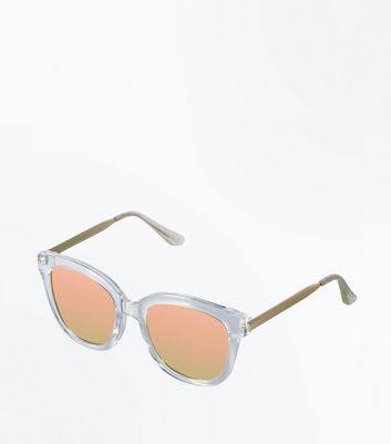 Clear Frame Mirror Lens Sunglasses