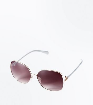 White Metal Frame Oversized Sunglasses