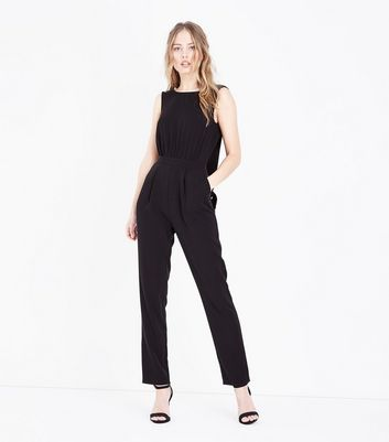 Black Plunge Tie Back Jumpsuit