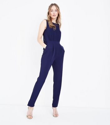 Navy Plunge Tie Back Jumpsuit