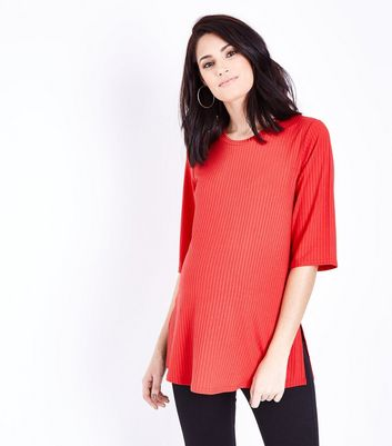 Maternity Red Side Split Ribbed Tunic Top