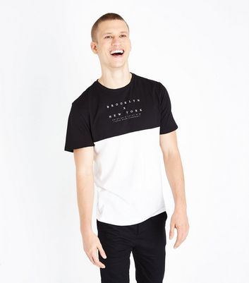 Black Colour Block New York Print T-Shirt