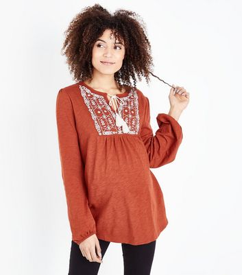 Maternity Rust Embroidered Smock Top