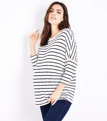 Maternity Light Grey and White Stripe Fine Knit Top