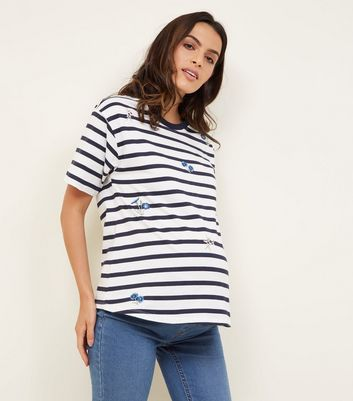 Maternity Blue Stripe Floral Embroidered T-Shirt
