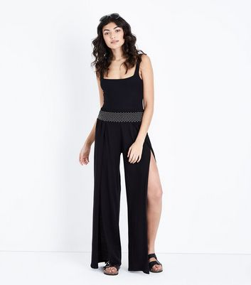 Black Shirred Wide Leg Beach Trousers