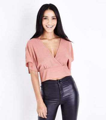 Rust Wrap Front Tie Back Crop Top