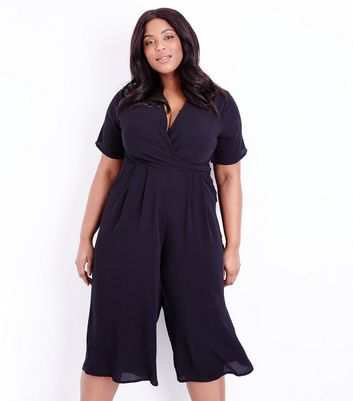 Curves Black Wrap Front Culotte Jumpsuit