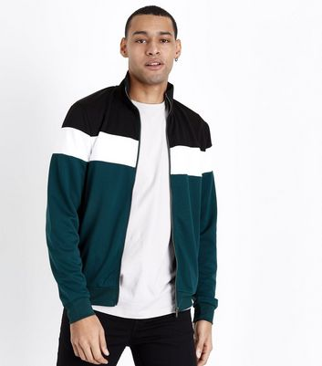 Dark Green Colour Block Track Top