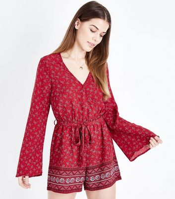 Tall Red Floral Flare Sleeve Playsuit