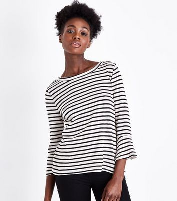 Black Stripe Fine Knit Bell Sleeve Top