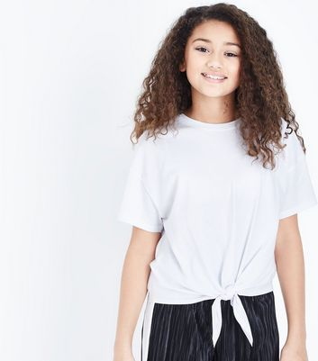 Teens White Tie Front T-Shirt