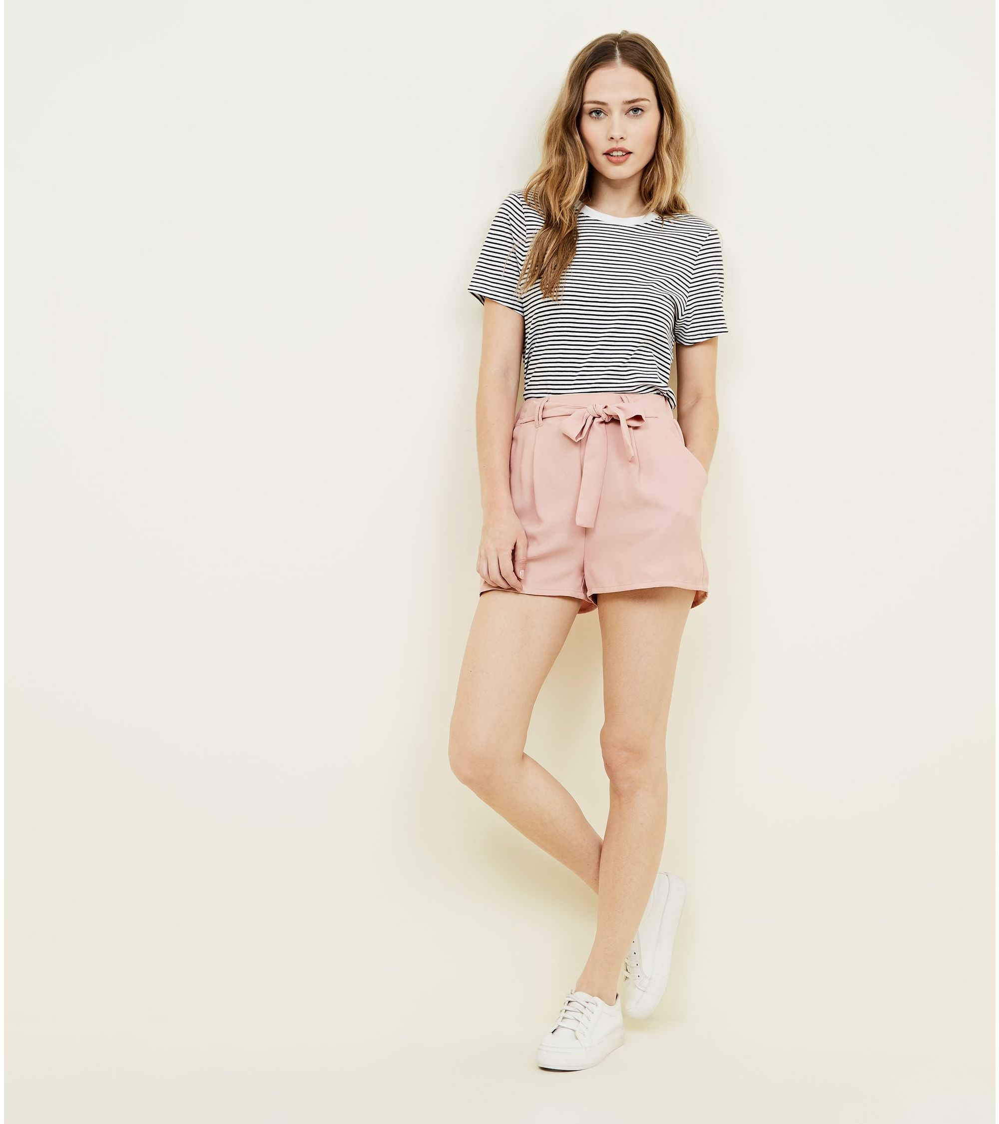 sports shoes 100% genuine low price sale New Look Pale Pink Tie Waist Shorts at £15.99 | love the brands
