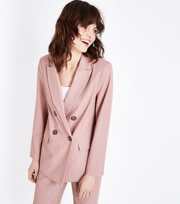 Mid Pink Marl Double Breasted Blazer