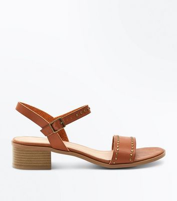 Tan Studded Low Block Heel Sandals by New Look