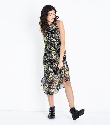 Black Floral High Neck Belted Midi Dress by New Look