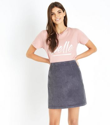 Grey Corduroy A-Line Mini Skirt