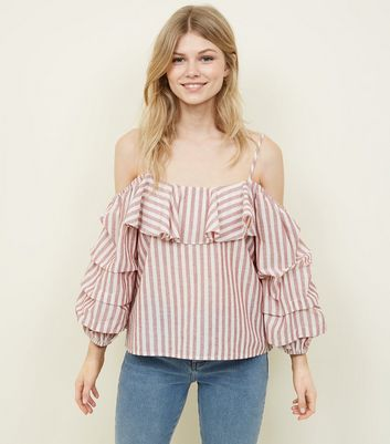 Petite Pink Stripe Ruffle Cold Shoulder Top