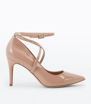 Nude Patent Strappy Pointed Courts