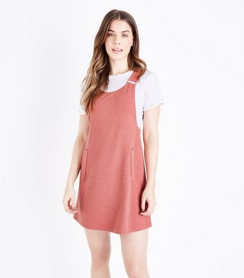 Coral Cross Hatch Pinafore Dress