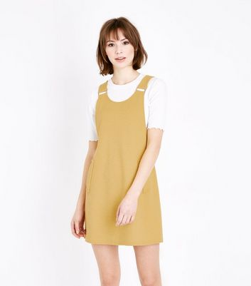 Mustard Cross Hatch Pinafore Dress