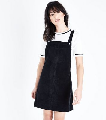 Black Corduroy Pocket Front Pinafore Dress