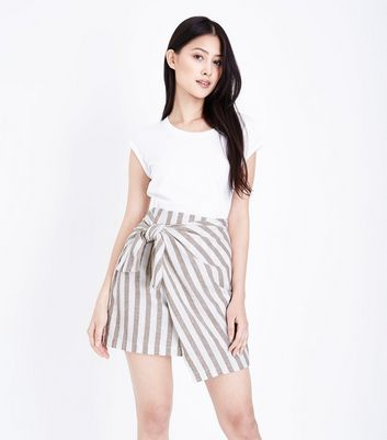 Petite White Stripe Tie Side Linen Mix Skirt