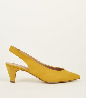 Mustard Suedette Slingback Kitten Heels by New Look