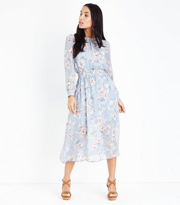Light Grey Floral Print Long Sleeve Midi Dress