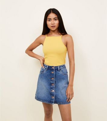 Petite Bright Blue Denim Button Front Mini Skirt