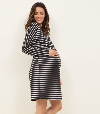 Maternity Black Stripe Long Sleeve Jersey Dress