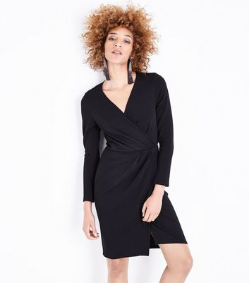 Black Crepe Long Sleeve Wrap Front Dress