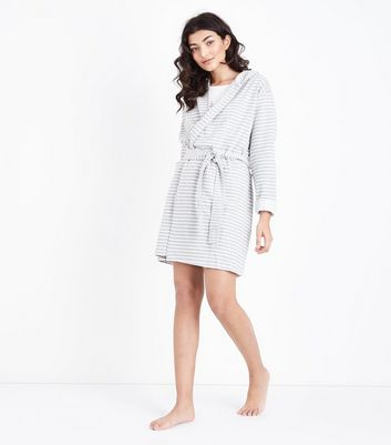 Grey Stripe Jersey Robe