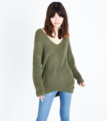 Khaki V Neck Oversized Jumper