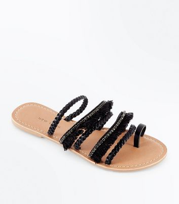 Black Leather Fringe Plait Strap Sandals