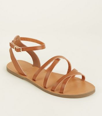 Tan Leather-Look Strappy Gladiator Flat Sandals